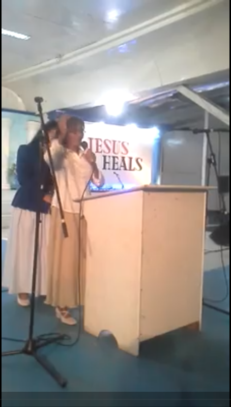 Sis. Elizabeth Martines testifying in Pampanga Fasting House chapel, Oct. 2013.