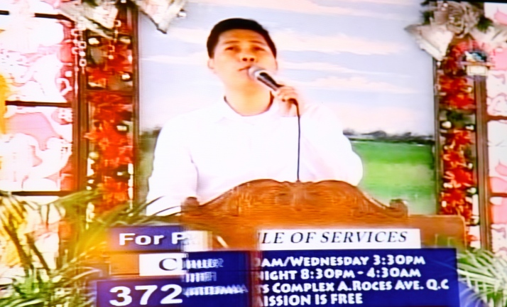 Bro. Rommel Domantay testifying in the pulpit, December, 2013, Amoranto Stadium, Quezon City, Phils.
